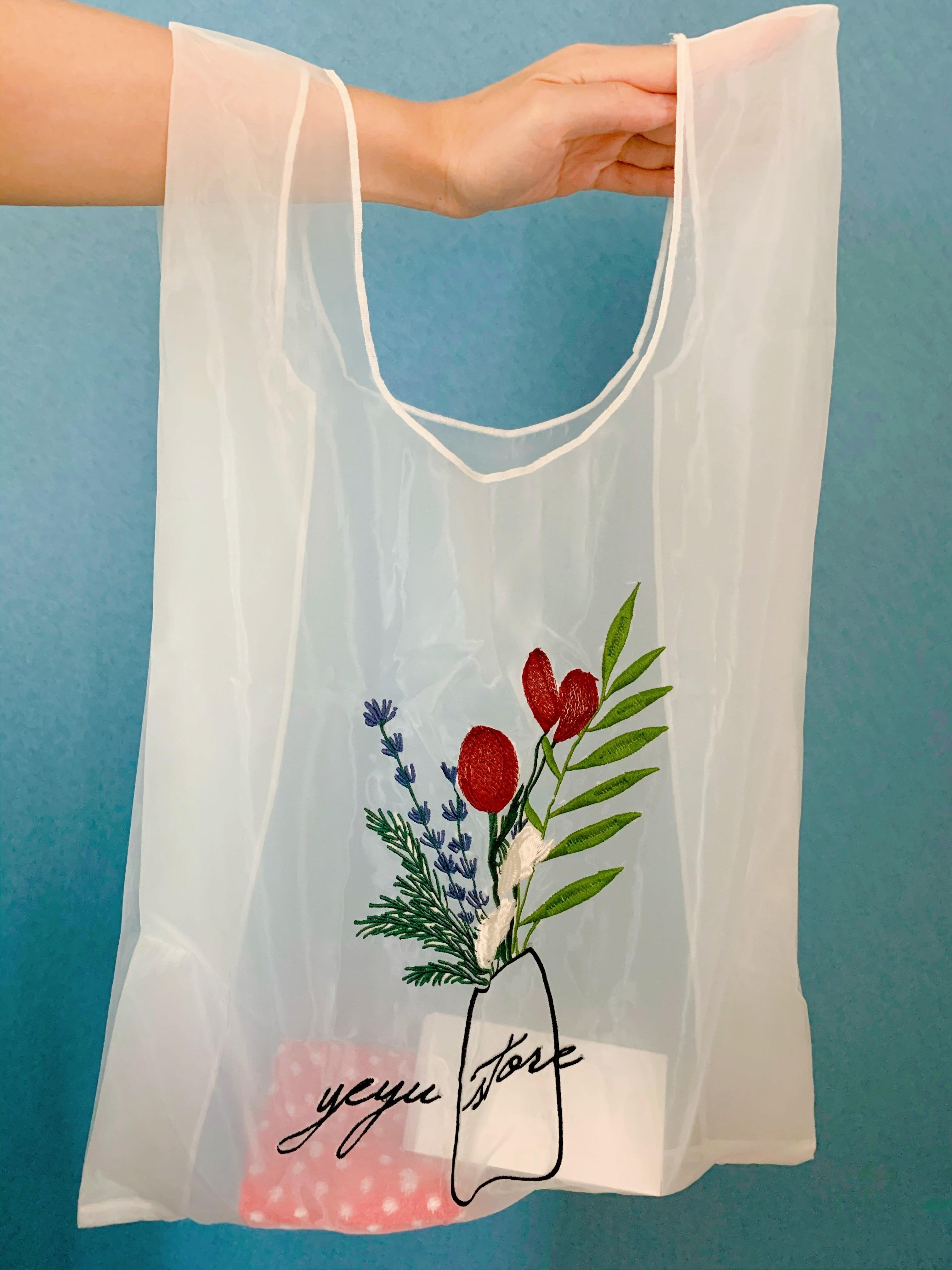 【エコバッグ】《フラワー刺繍×シースルー》が可愛い韓国のエコバッグ♡_3