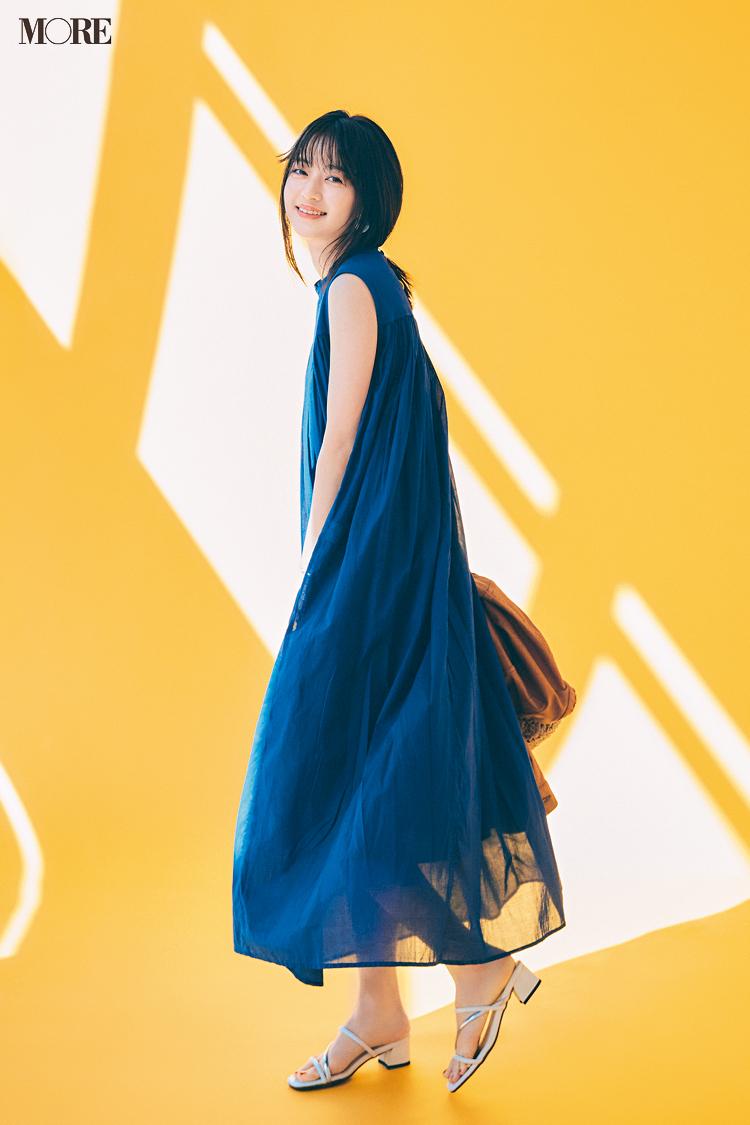 【今日のコーデ】<逢沢りな>おめかし気分の日曜は寒色ワンピース+新作ミュールでドレスアップ♡_1