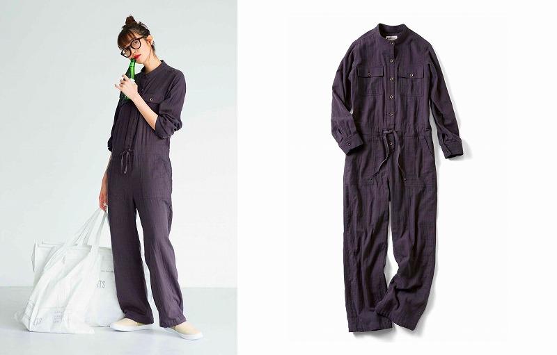 佐藤栞里が「栞里ちゃんとつくった こなれカラーのコーヒーブラウン! ずっと着ていたくなるダブルガーゼつなぎ」を着用している画像