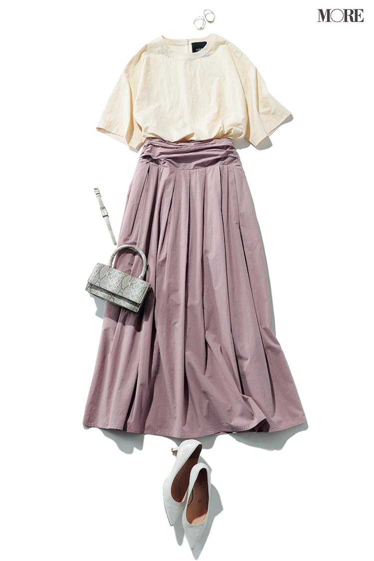 きれいな色のトップスにはきれいな色のスカートを合わせる