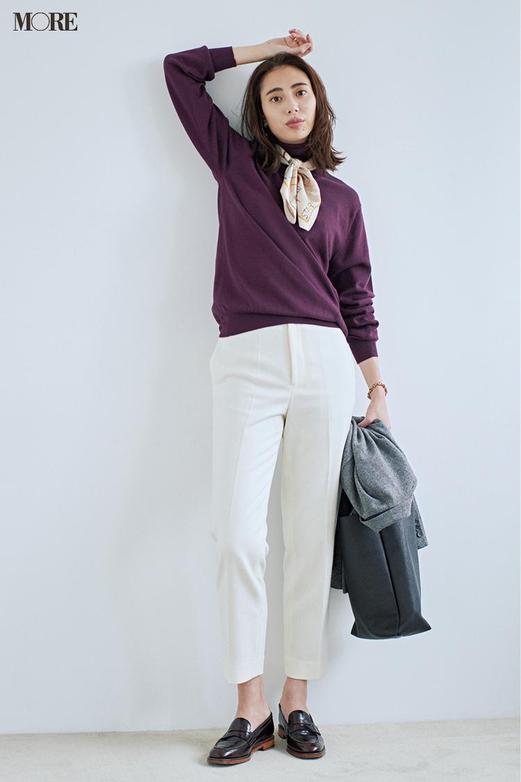 【今日のコーデ】<土屋巴瑞季>爽やかな白パンツにきれい色ニットで仕事始めはきちんと感重視!_1