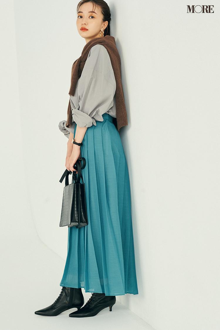 【今日のコーデ】<逢沢りな>仕事もデートもおまかせ!週末はきれい色スカートにシャツの正統派コーデで好感度を高めて_1