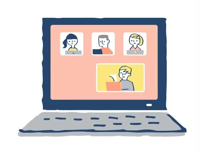 テレビ会議を開くパソコンのイラスト