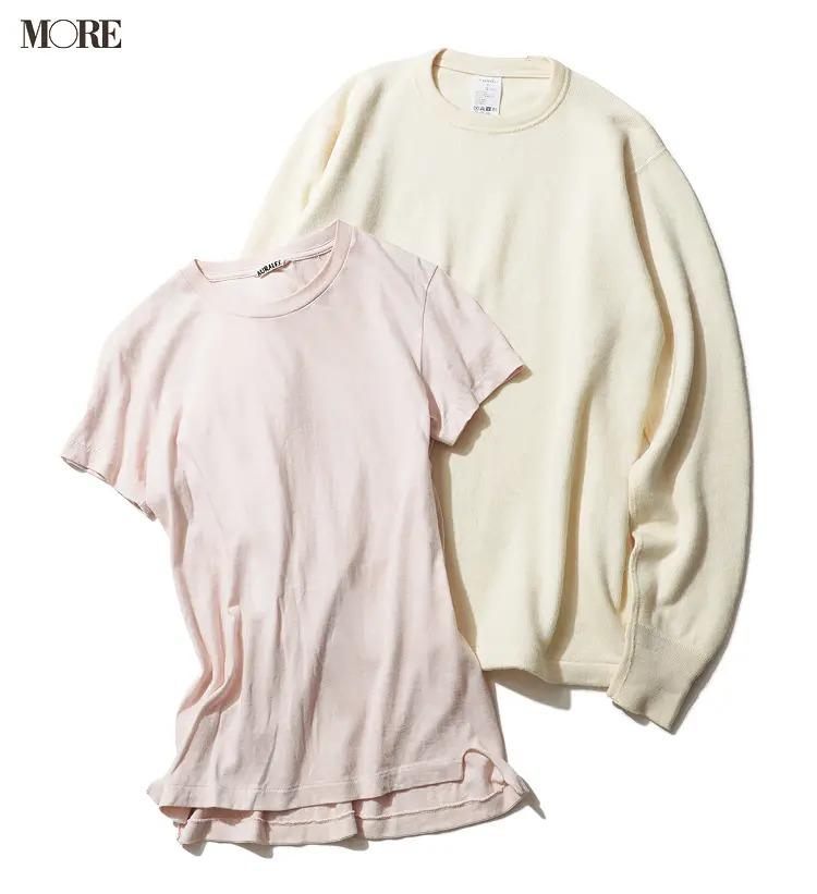 飯豊まりえ愛用の白ニットとピンクTシャツ