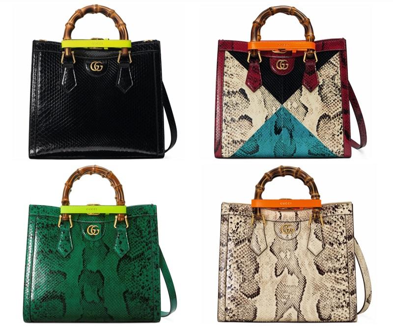 グッチの新作バッグ「グッチダイアナ」スモールサイズ、アニマル柄型押しの3つ