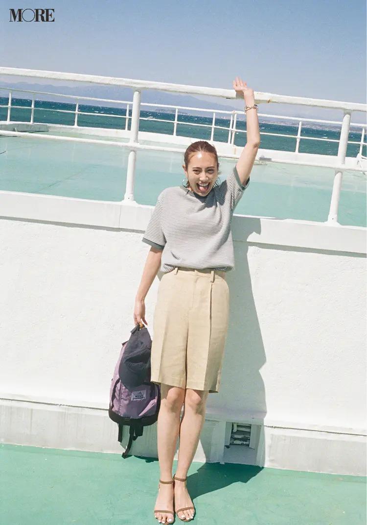 【夏のボーダーコーデ】気になるハーフパンツの相棒には細めのボーダーのTシャツを