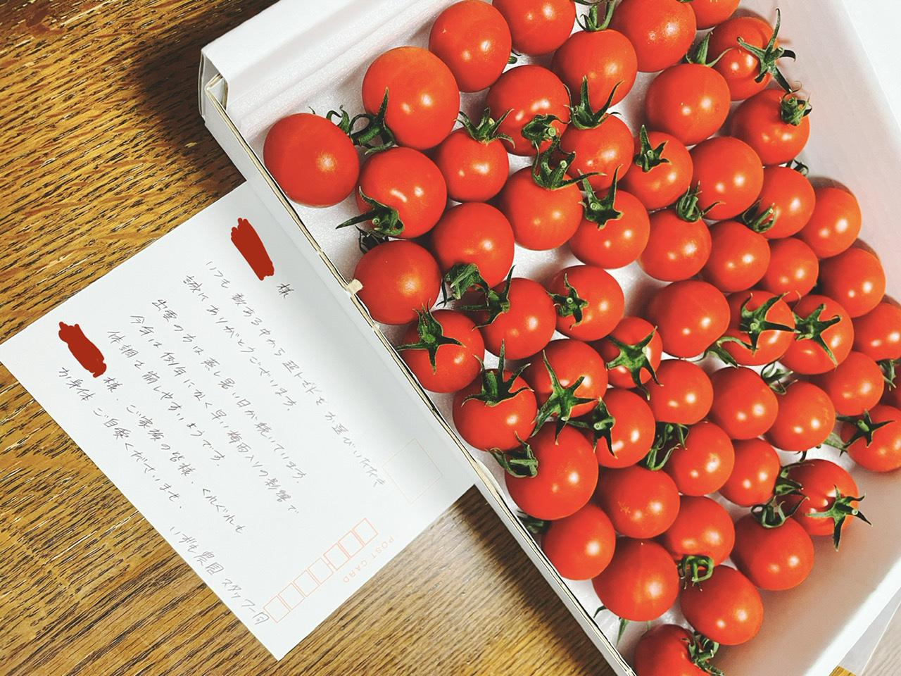 トマトに添えられたメッセージカード