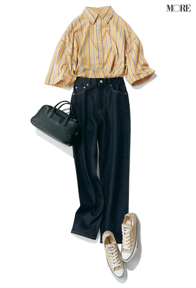 黄色のストライプシャツ×デニムコーデ