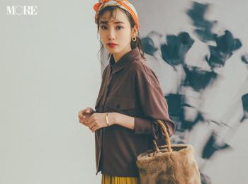 【今日のコーデ】<飯豊まりえ>甘いスカートの引き締め役はシャツジャケット。初秋は一枚でトップス使いして