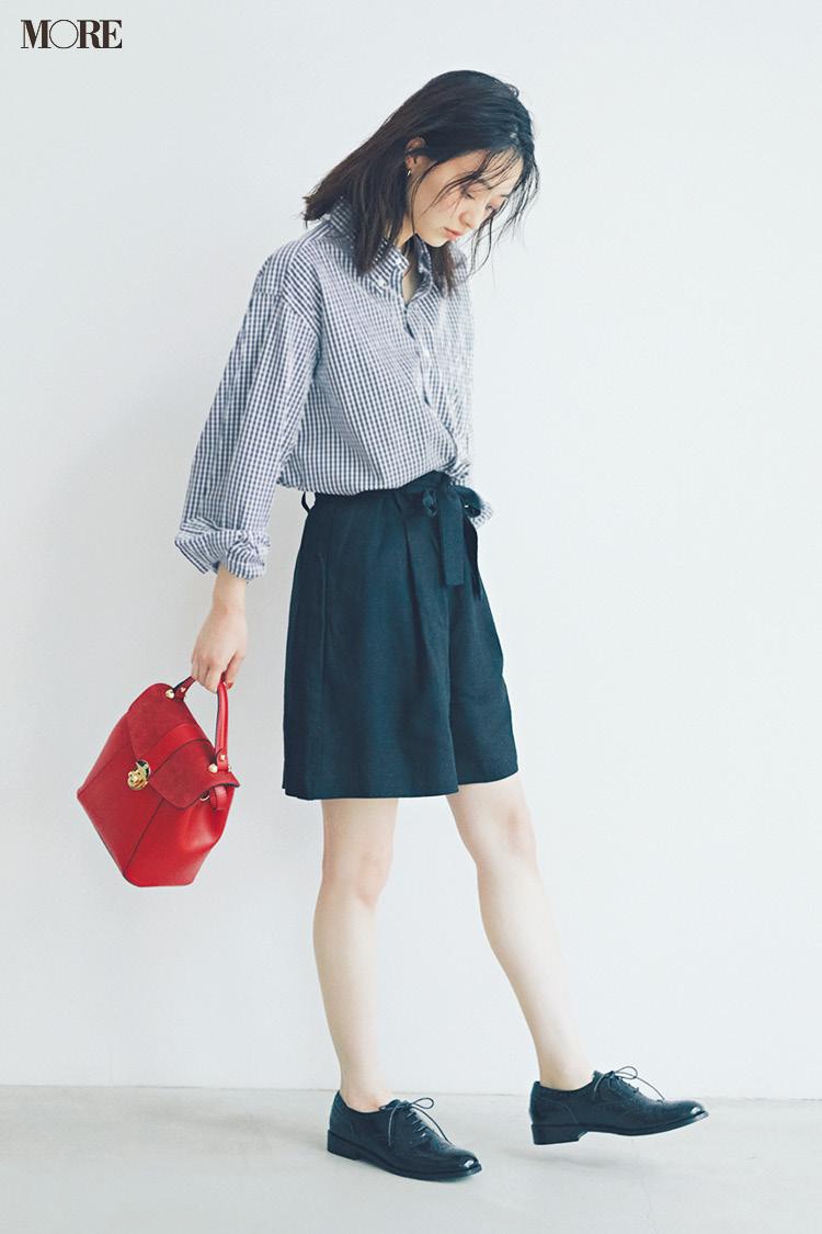 【今日のコーデ】<逢沢りな>シャツにショートパンツでボーイッシュな日はレディな赤バッグを添えて♡_1