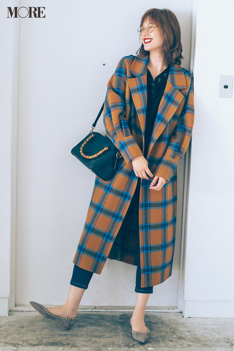 【今日のコーデ】鮮やかなチェック柄コートの日はとことんシンプルなデニムカジュアルがいい♪ 〈本田翼〉_1