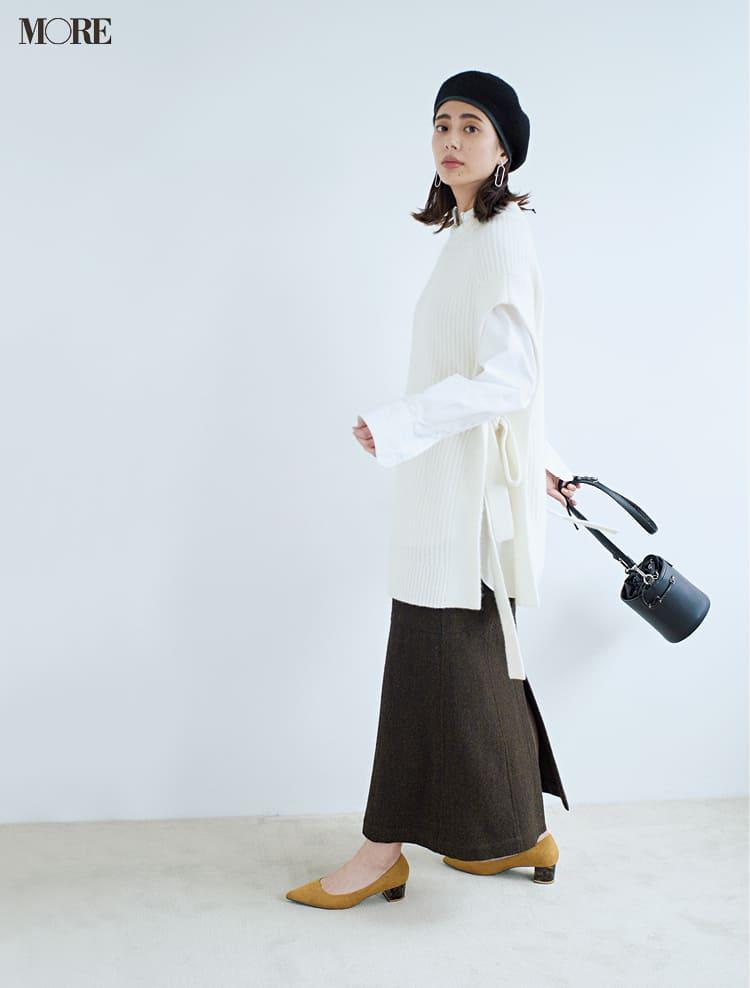 白ニットコーデ【2020冬〜春】- 着膨れしない細見えテクニックなど、白い服の最旬レディースコーディネートまとめ_17