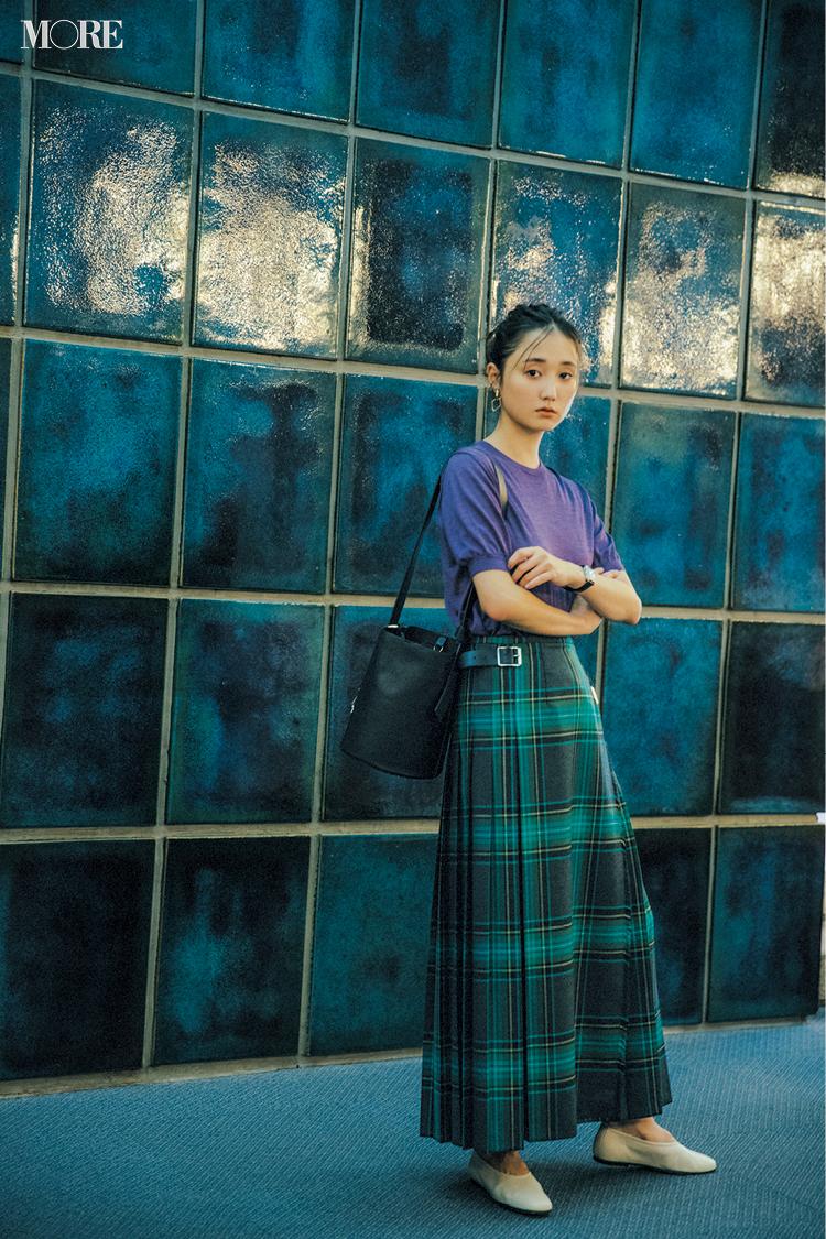 【今日のコーデ】<鈴木友菜>同窓会コーデはチェック柄プリーツスカートで鮮度高く♪_1