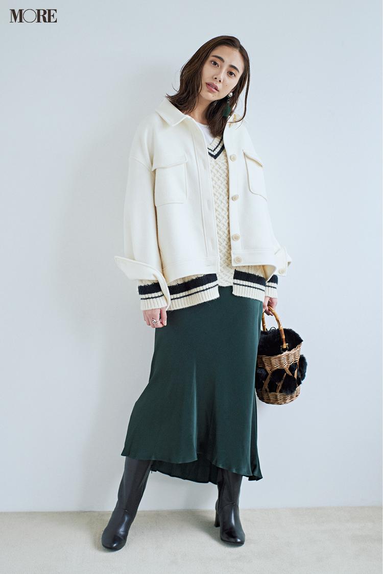 【今日のコーデ】<土屋巴瑞季>水夜のデートコーデは白×フォレストグリーンのおしゃれ配色で鮮度を上げて♡_1