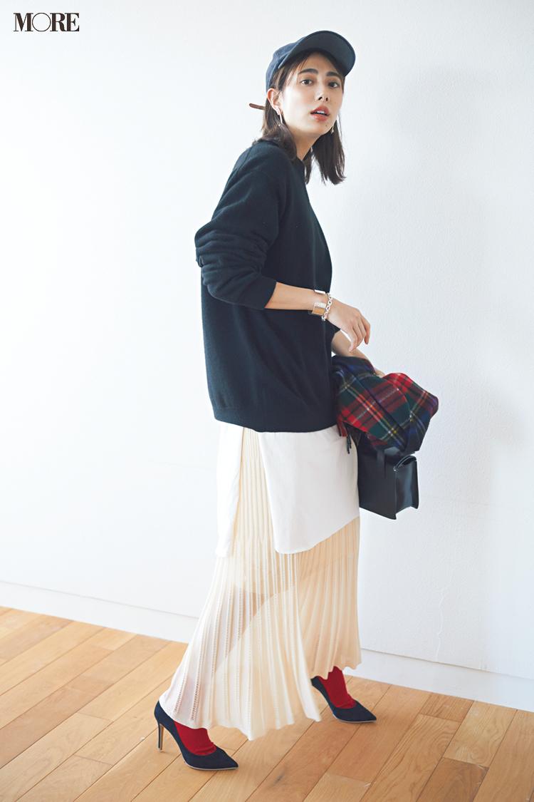 【今日のコーデ】<土屋巴瑞季>美人なプリーツスカートを休日にも!トップスやキャップで新鮮スポーツMIX☆_1