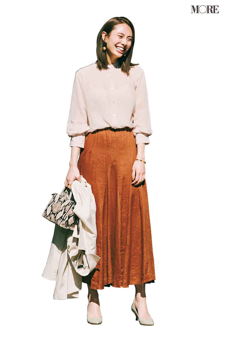 【今日のコーデ】<土屋巴瑞季>透けるシャツにリネンスカートで上品シックな着こなしを春仕様に!_1