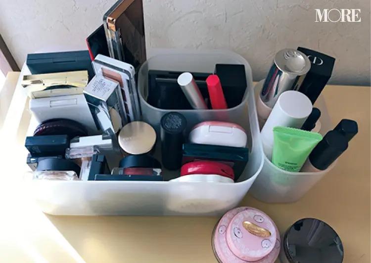 無印良品のメイクボックスを使用する美容ライター・井上さんのコスメ収納