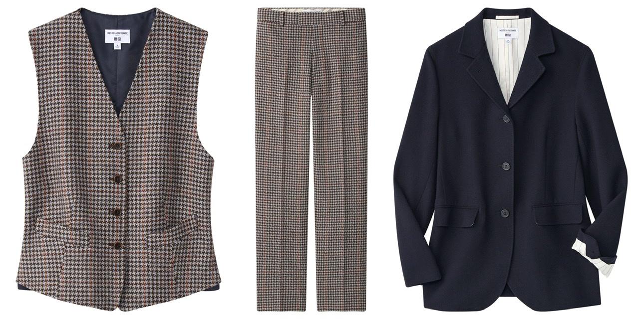 ユニクロ×イネスのベスト、パンツ、ジャケットのスリーピース