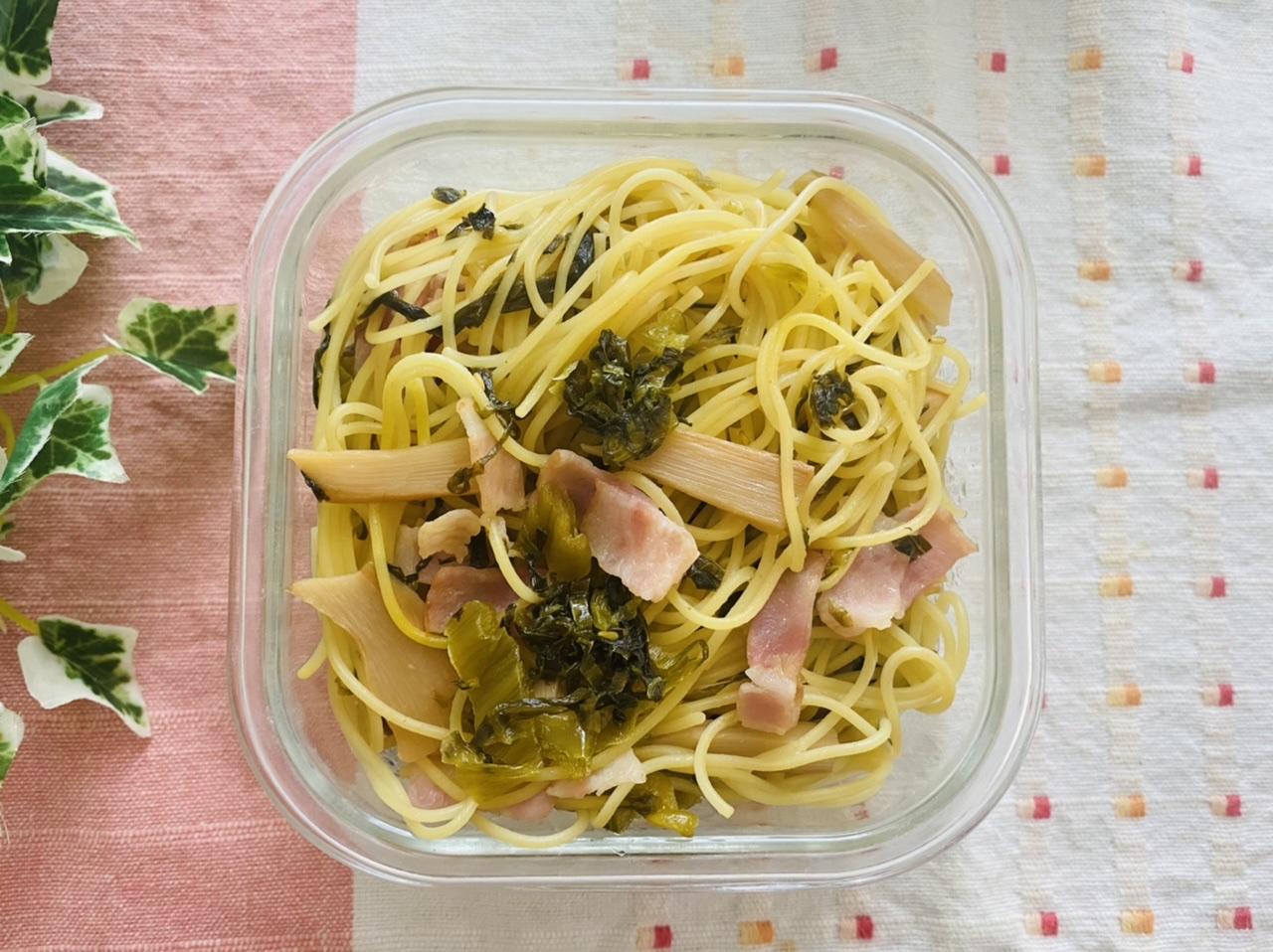 メンマと高菜とベーコンの中華パスタ