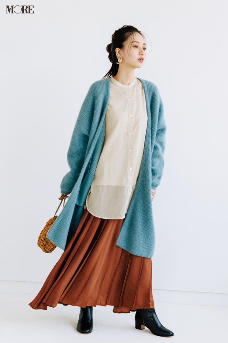 【今日のコーデ】<逢沢りな>おでかけ日和の土曜日。透けシャツ+カーディガンでコートの中は春気分に♪_1