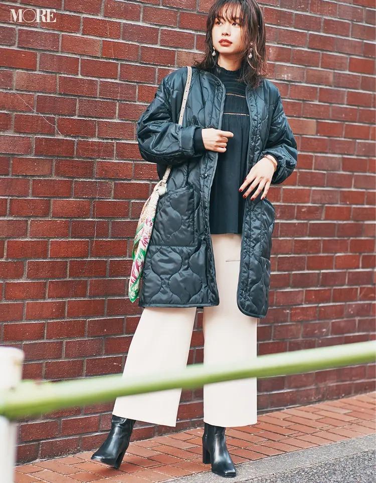 【2020-2021冬コーデ】黒のキルティングコート×ミドル丈パンツコーデ
