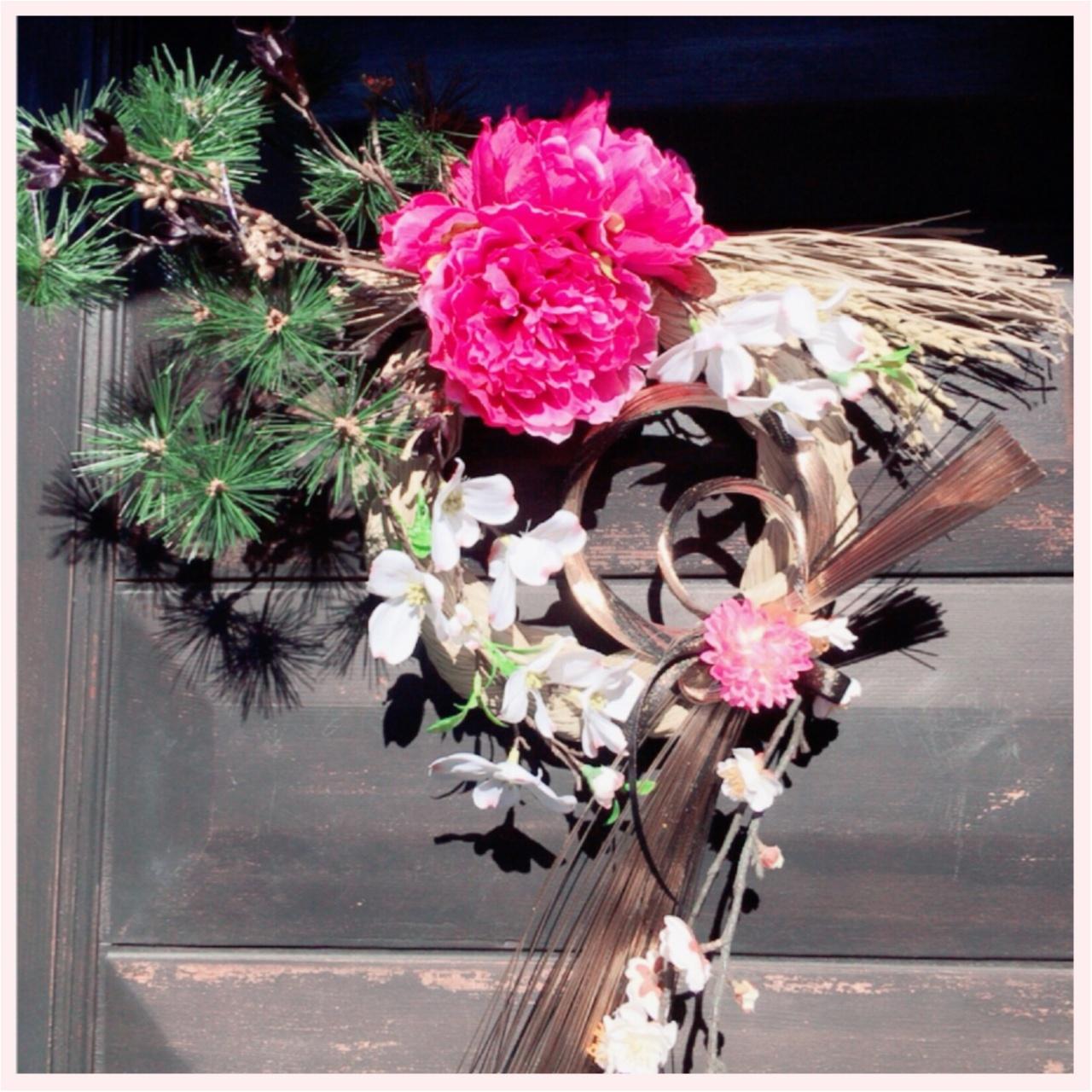 お正月に向けてしめ縄飾りを作ったよ♡シャクヤクのお花♡_1