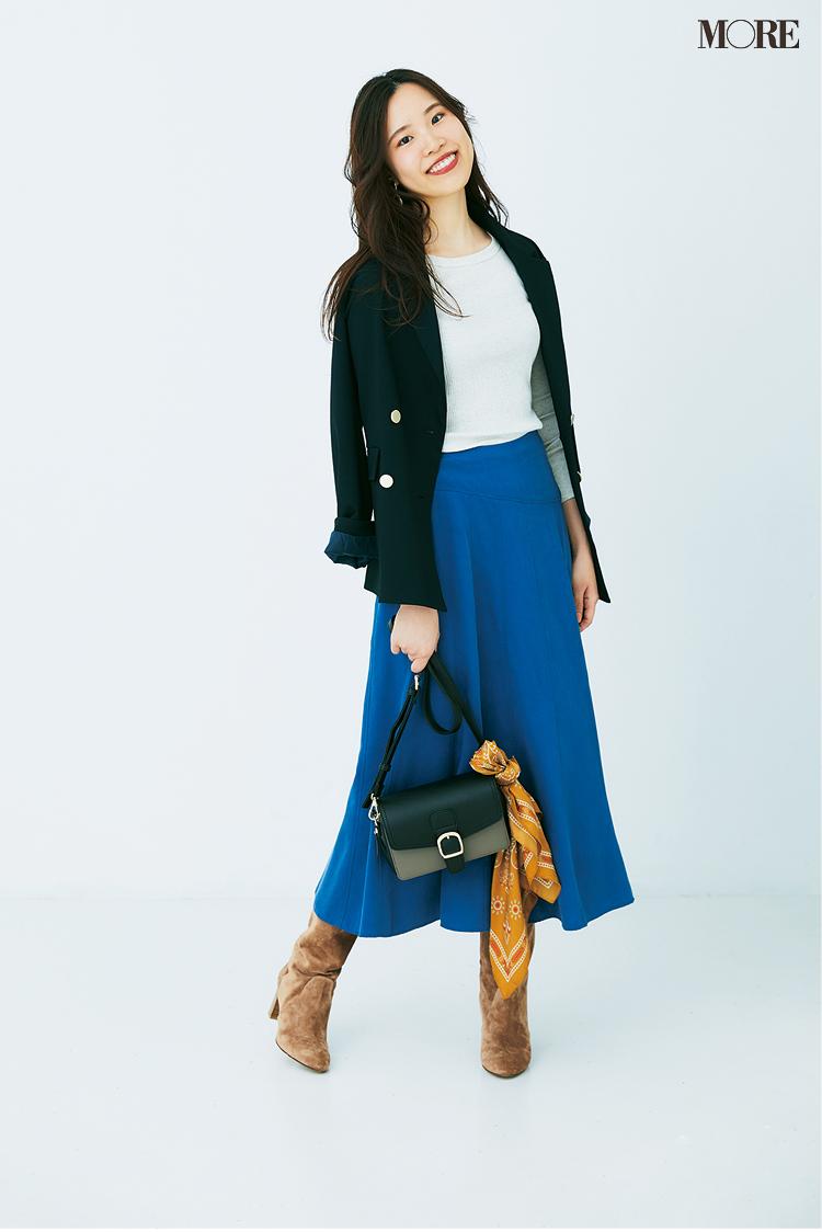 背高さんに似合うのはとろみ素材のスカート