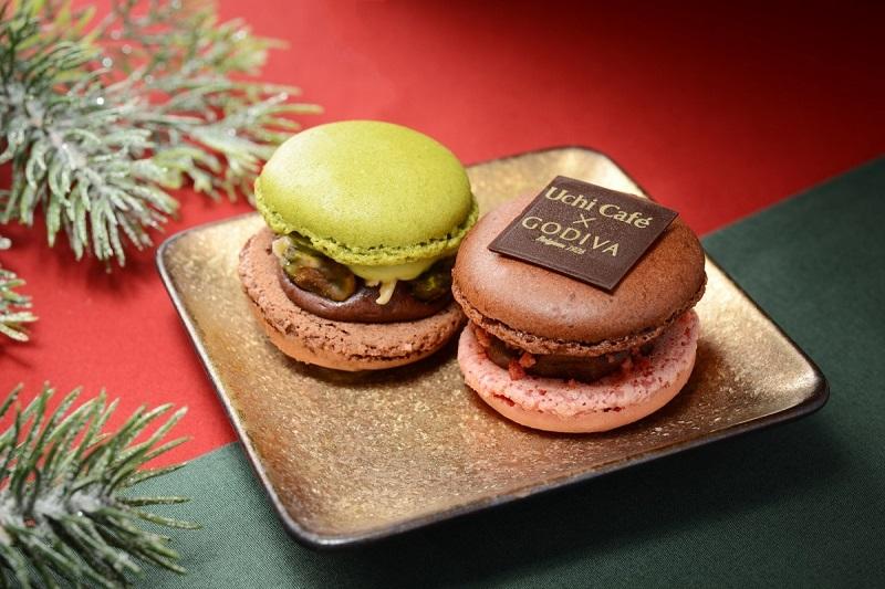 『ローソン』クリスマス向け新作スイーツ2 「Uchi Café × GODIVA ホリディショコラマカロン 2 個 」