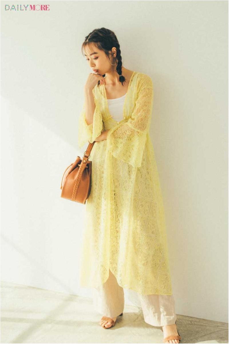 【今日のコーデ/内田理央】リネンパンツに華やかなレースガウンをレイヤード。旬な素材合わせで鮮度を上げて!_1