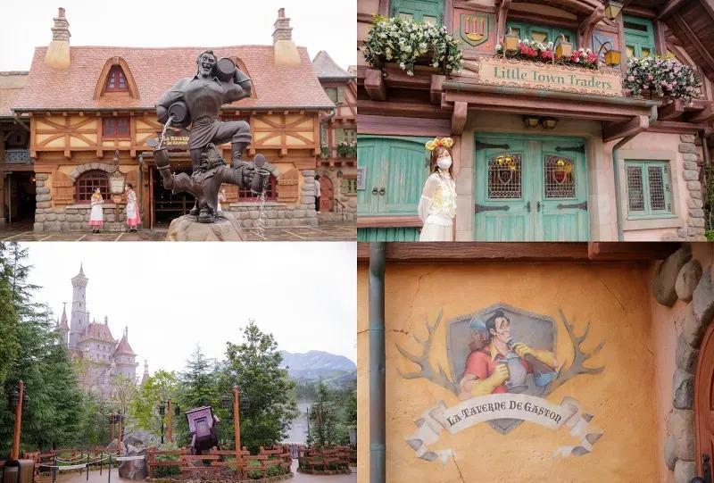 新エリアのショップ、美女と野獣の城、ガストンの壁画、可愛いショップの外観