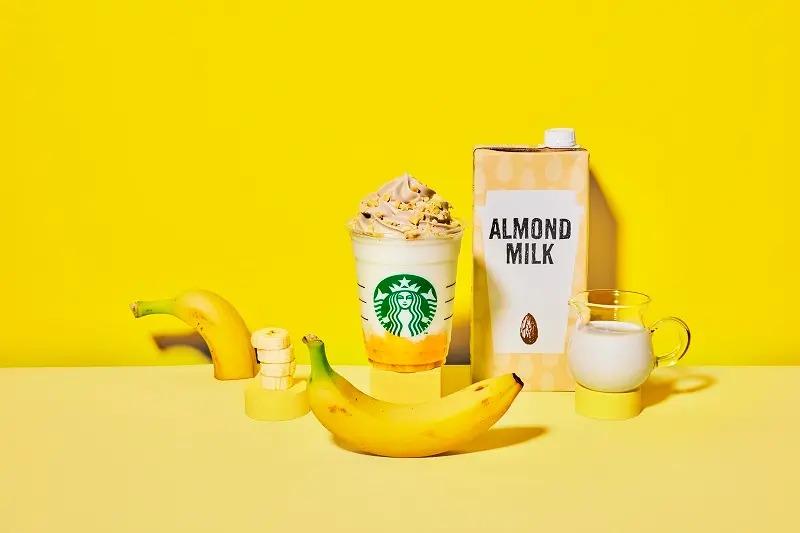 スタバ新作「バナナンアーモンドミルク フラペチーノ」と「ハニー オーツミルク ラテ」
