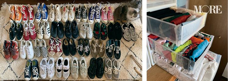 スタイリスト高野麻子さんの私物スニーカーやTシャツのコレクション