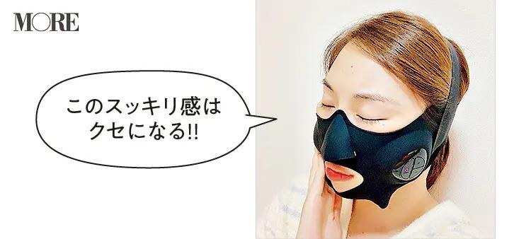 ヤーマンのメディリフトを顔に装着したRIKAさん「このスッキリ感はクセになる!!」