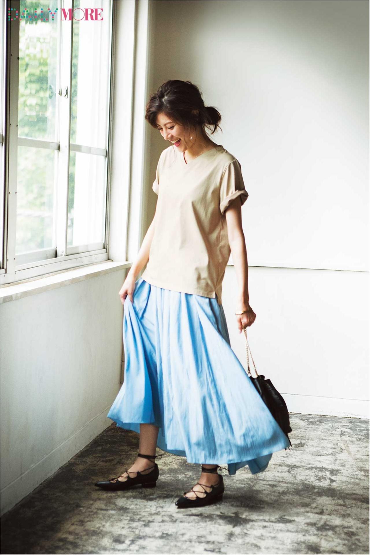 【今日のコーデ/佐藤ありさ】スカートがはきたい木曜日はTシャツでこなれ感を♪_1