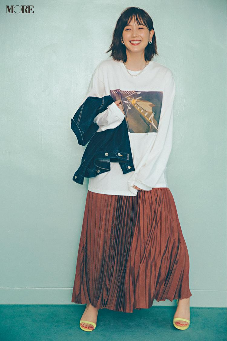 【今日のコーデ】<本田翼>レディなスカートをビッグTシャツでハズして遊び心いっぱいの休日に!_1