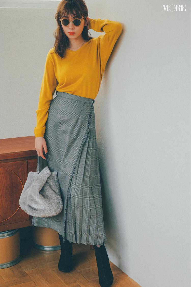 飯豊まりえがトライ!Vネックのニットとカーディガン。この冬はスカート合わせが断然おしゃれ♡ photoGallery_1_1