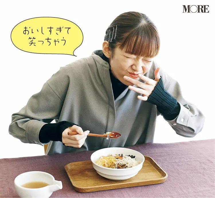 鹿児島県からお取り寄せした鶏飯を食べる佐藤栞里