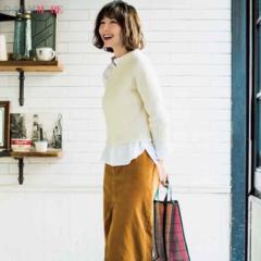 【今日のコーデ/篠田麻里子】クリーンな白と優しげなベージュの好印象カジュアル。抜け感のある足もとで春を意識して♡