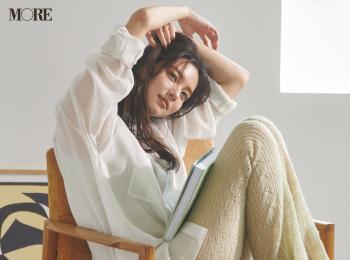 【今日のコーデ】<新川優愛>在宅デーは涼やかなニットパンツに白シャツで心地よく