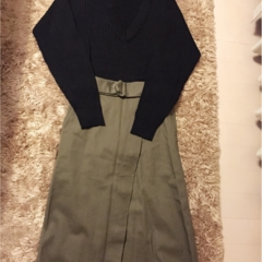 ♡待ってました!【ユニクロ】リブVネックセーターが期間限定1990円!GUスカートと合わせてプチプラコーデ作っちゃいました♡