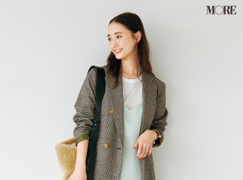 【今日のコーデ】<鈴木友菜>フェミニン派にも似合う、可愛いチェック柄ジャケットをオフィスコーデの相棒に