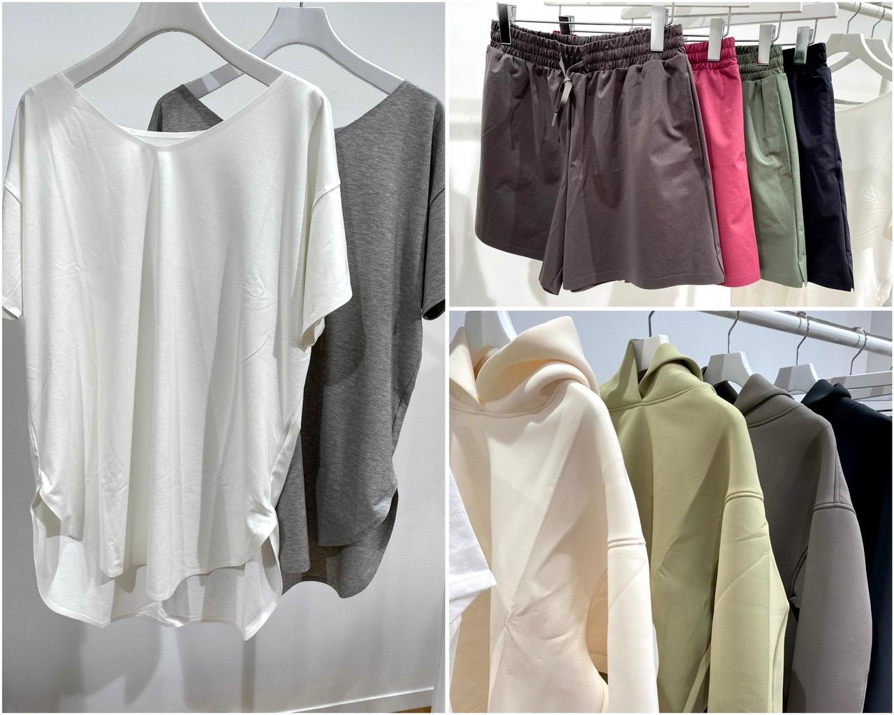 ユニクロのスポーツ用Tシャツ、ショートパンツ、パーカー