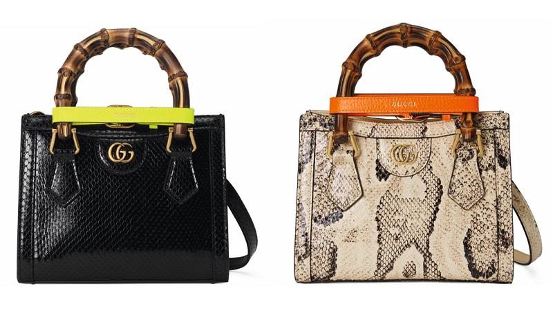 グッチの新作バッグ「グッチダイアナ」ミニサイズ、パイソンなどアニマル柄2つ