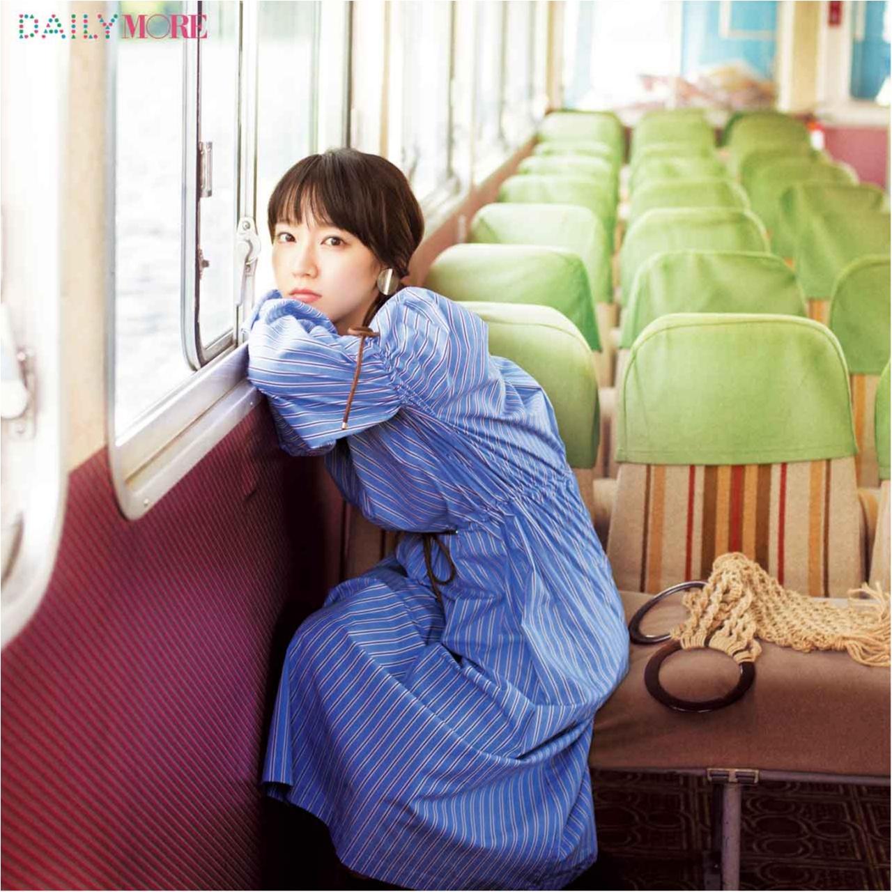 女優・吉岡里帆さんのお気に入りワンピースは、爽やかに女っぽいストライプ柄♪_1