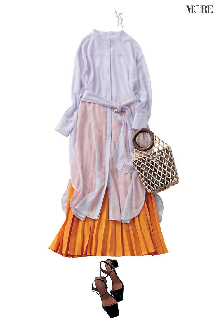 スカート派はどうやってきれい色を取り入れる? 使える4着で6コーデ着回し!_2