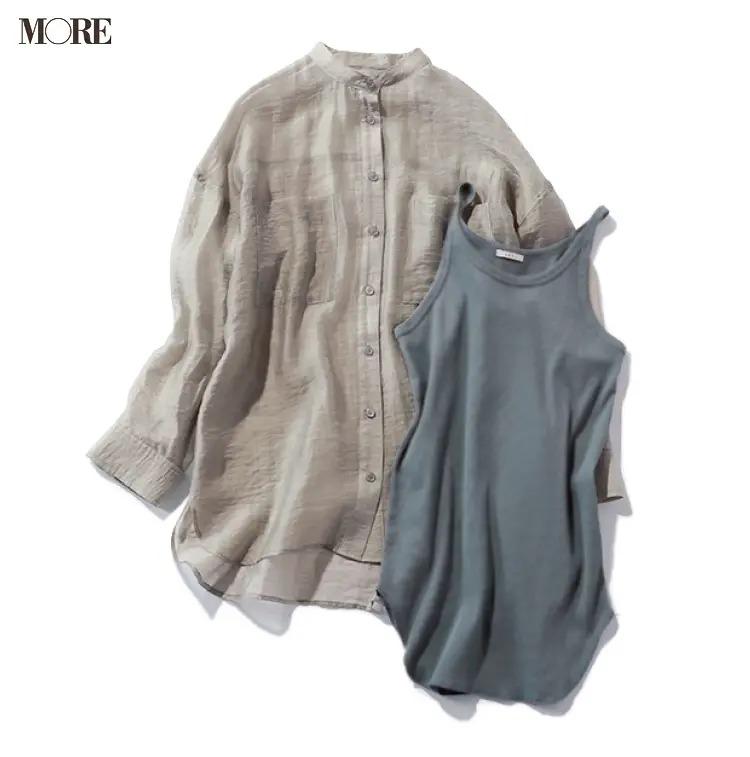 くすみグリーンのバンドカラーシャツとインナーの例