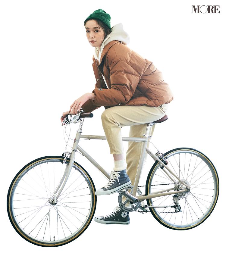 自転車に乗るときはダウンをパーカーの上にはおる