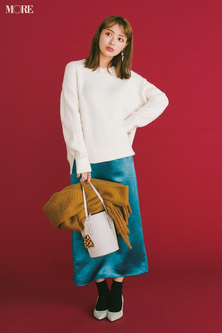 【今日のコーデ】<内田理央>気分を上げたい週の中日。きれい色のスカート+クリーンな白ニットで好感度もUP!_1