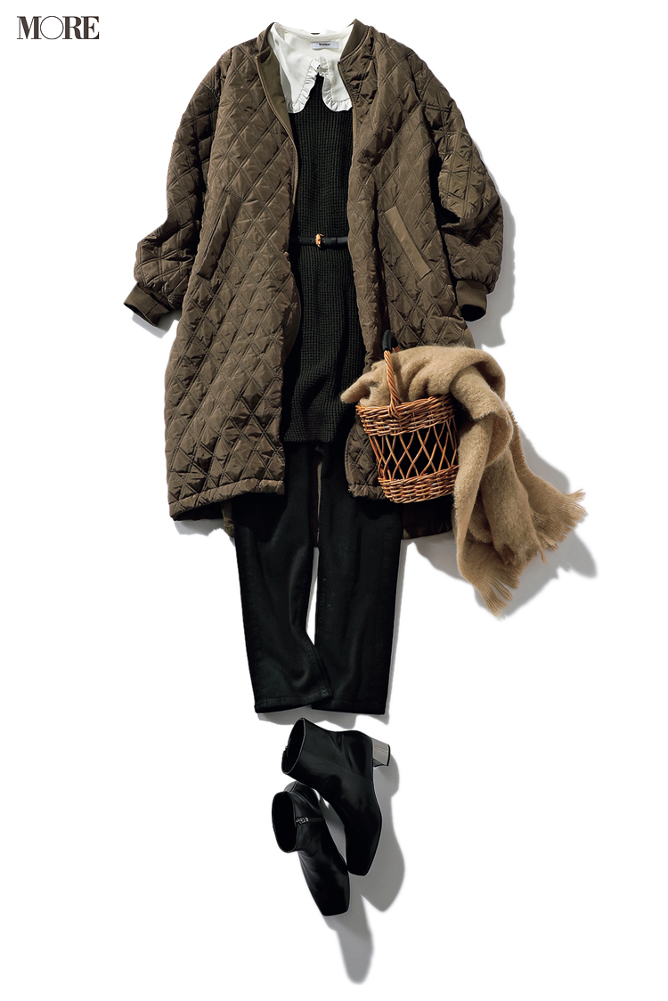 ニットベストを冬に着るコーデ例