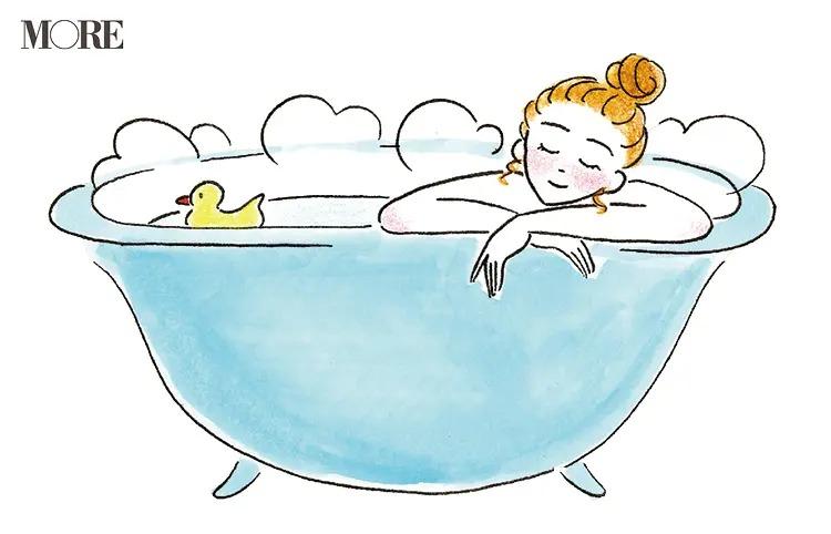バスタブでお風呂の湯に浸かる女性のイラスト